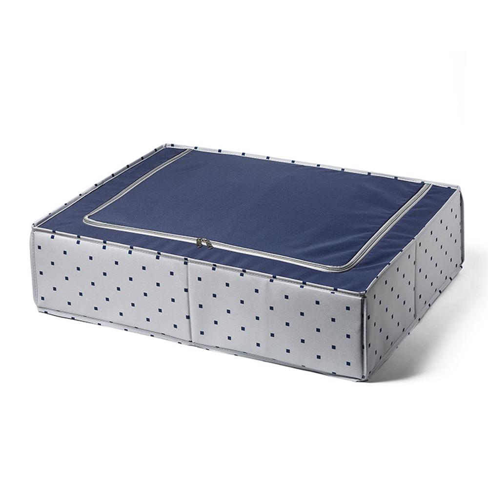 日系風格布藝床底抽屜式收納箱-藍色方格