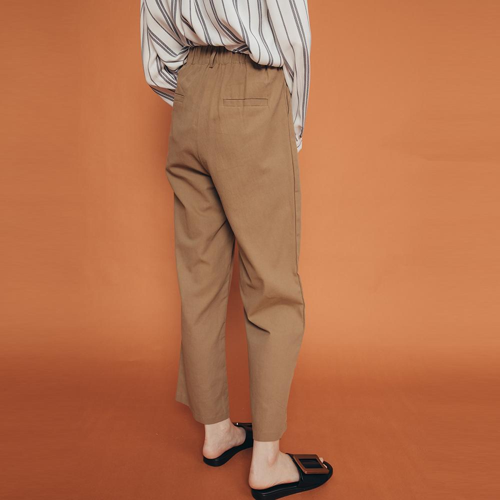 REESE 後鬆緊直筒西裝褲 橄欖棕