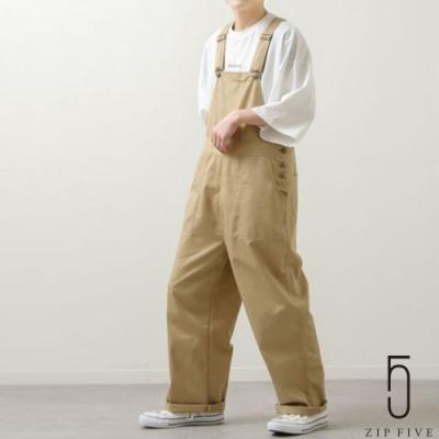 ZIP日本男裝 寬版工裝吊帶褲  復古丹寧/斜紋織 (11色)