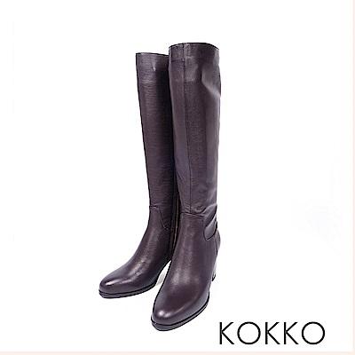 KOKKO -絕對完美牛皮直筒高跟長靴-濃情咖