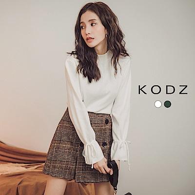 東京著衣-KODZ 簡約質感針織綁帶喇叭袖長袖上衣-S.M.L(共二色)