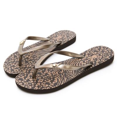 PLAYBOY 個性動物紋夾腳拖鞋-咖