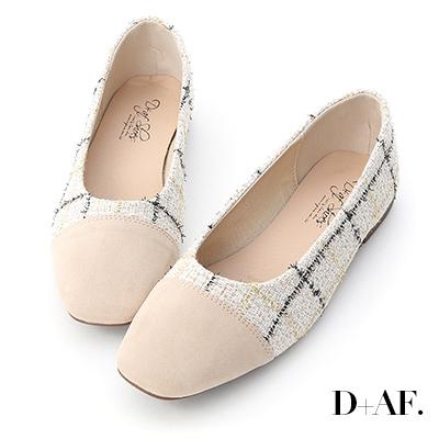D+AF 法式風尚.格紋毛呢拼接娃娃鞋*米白