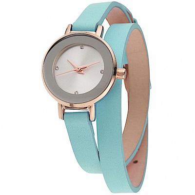 MANGO 俏麗佳人小錶面晶鑽雙圈錶帶腕錶-綠/24mm