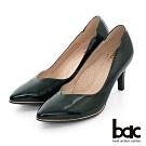 【bac】歐美簡約尖頭V口側邊波浪高跟鞋-深綠