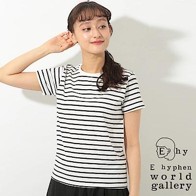 E hyphen 定番基本款橫條紋圓領棉質短袖T恤
