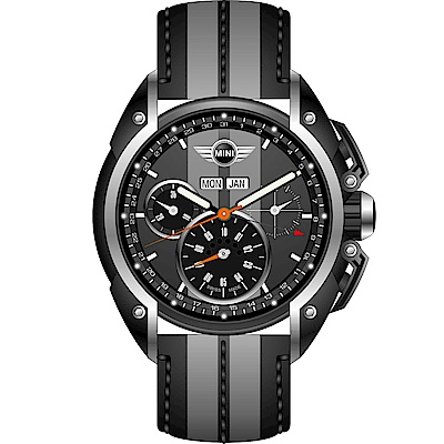 MINI Swiss Watches極速運動計時腕錶(MINI-05)-灰色/皮