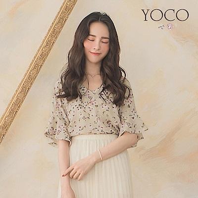 東京著衣-YOCO 春氛浪漫滿版花朵荷葉袖上衣-S.M.L(共兩色)