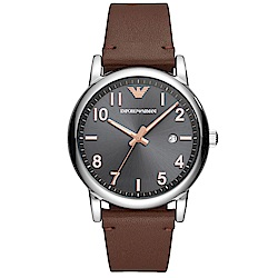 Emporio Armani 質感品味時尚真皮手錶(AR11175)-灰X咖啡/43mm