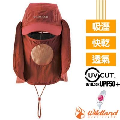 荒野 WildLand 中性抗UV多功能遮陽棒球帽.遮陽護頸帽.休閒帽.三用遮陽帽_赭紅色