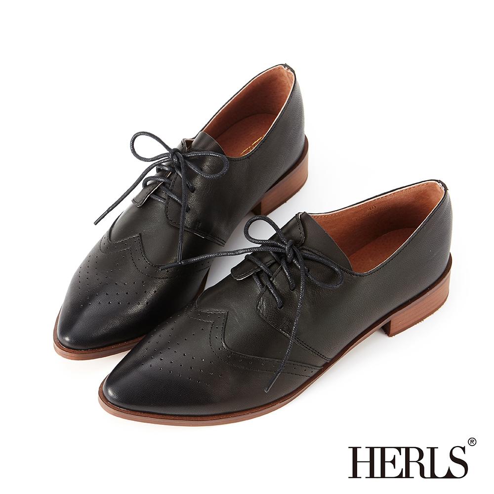 HERLS 全真皮沖孔尖頭德比牛津鞋-黑色 @ Y!購物