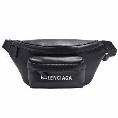 BALENCIAGA 經典EVERYDAY系列白色品牌LOGO牛皮腰包(黑色)