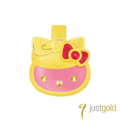 鎮金店Just Gold Hello Kitty 45周年純金系列 黃金單耳耳環-香水瓶
