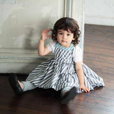 MARLMARL兒童用餐圍裙 女孩/條紋(KIDS 100-110cm)