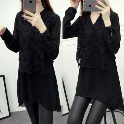 【韓國K.W.】(預購)絕美雅緻氣質雪紡上衣-2色