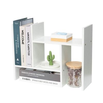樂嫚妮 H型多用途收納置物書架/桌面/伸縮-象牙白色-寬30~62X深15X高35cm