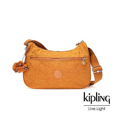 Kipling黃棕素面拉鍊側背包