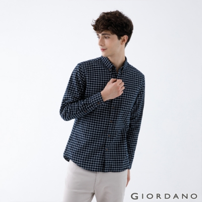 GIORDANO 男裝法蘭絨磨毛長袖襯衫 - 46 深藍x白