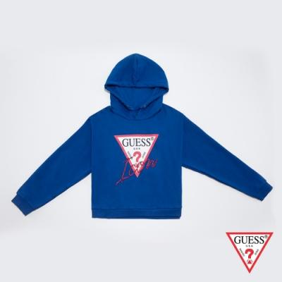 GUESS-女裝-經典ICON LOGO長袖帽T-藍 原價2790