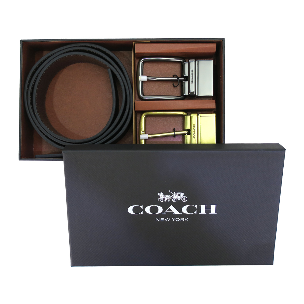 COACH 卵石紋皮革雙牌扣皮帶禮盒組(黑x深咖)