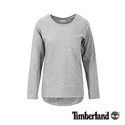 Timberland 女款淺灰品牌LOGO素面休閒長袖T恤|B3501