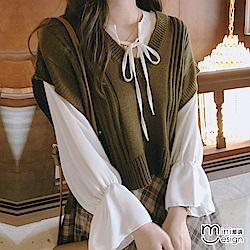垂肩V領針織背心 棕色-mini嚴選