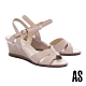 涼鞋 AS 簡約氣質異材質繫帶楔型高跟涼鞋-粉 product thumbnail 1