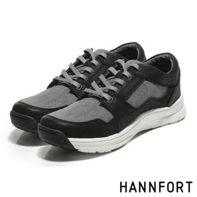 HANNFORT TORNADO牛皮水洗護趾氣墊戶外鞋-男-水洗黑