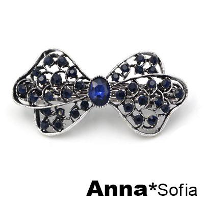 AnnaSofia 俏麗藍晶蝶結 純手工髮夾邊夾