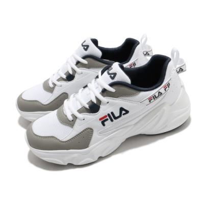 Fila 休閒鞋 Hidden Tape2 厚底 男鞋 斐拉 老爹鞋 穿搭推薦 復古慢跑鞋 白 灰 1J329V143