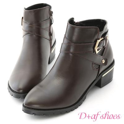 D+AF 明星單品.交叉釦環金屬鞋跟短靴*咖