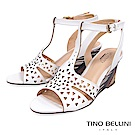 Tino Bellini 巴西進口幾何沖孔木紋工藝楔型涼鞋 _ 白