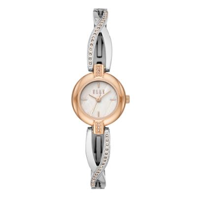 ELLE 人魚之淚晶鑽貝殼面腕錶-銀X玫瑰金(ELL21017)/22mm