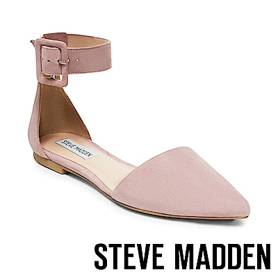 STEVE MADDEN-JUNIOR經典扣飾踝帶尖頭平底鞋-粉紅