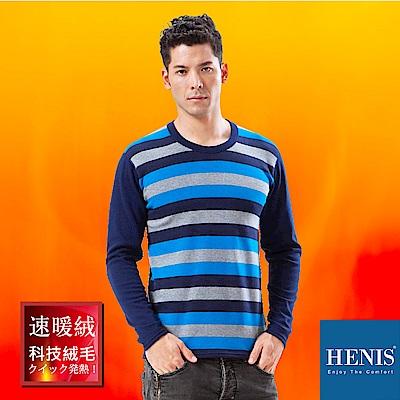 HENIS 禦寒神器 速暖羽式絨毛發熱衣 (灰/藍/藏青條)