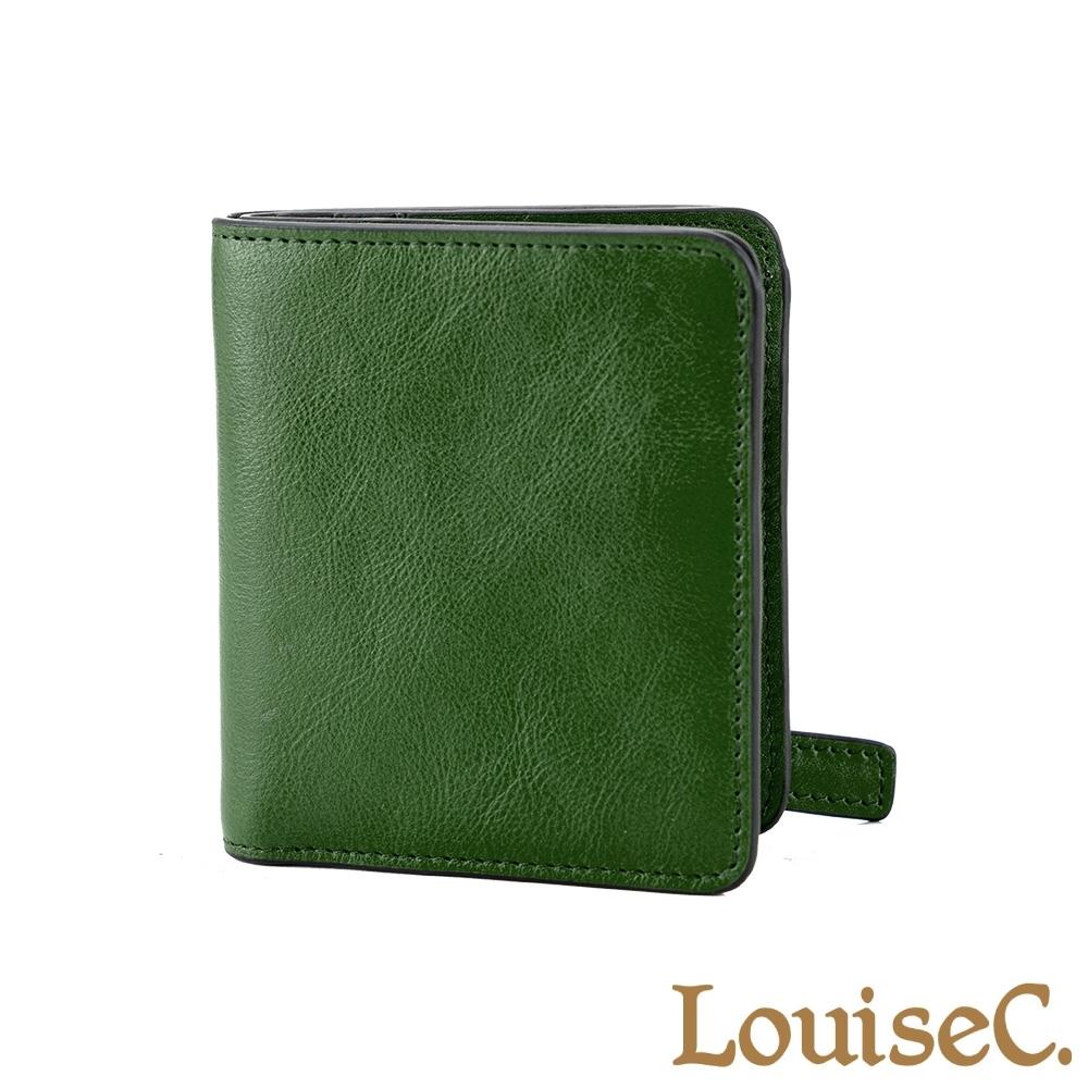 LouiseC. 植鞣牛皮簡約輕薄短夾- 森林綠 (WI7014-08)