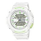 BABY-G 慢跑元素運動配色設計休閒錶(BGA-240-7A2)白x綠 42.6mm