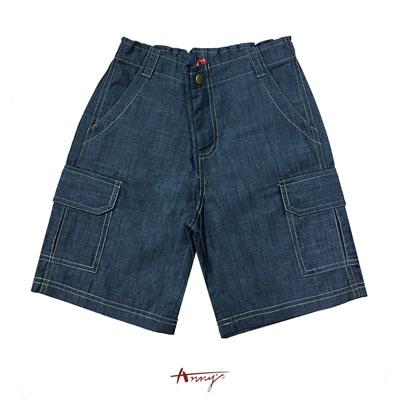 Annys休閒舒適牛仔外車線造型薄短褲*0384藍