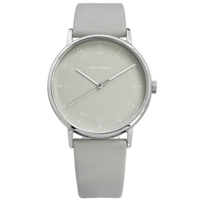 ISSEY MIYAKE 三宅一生 F系列數字時標日本製造真皮手錶-灰色/39mm