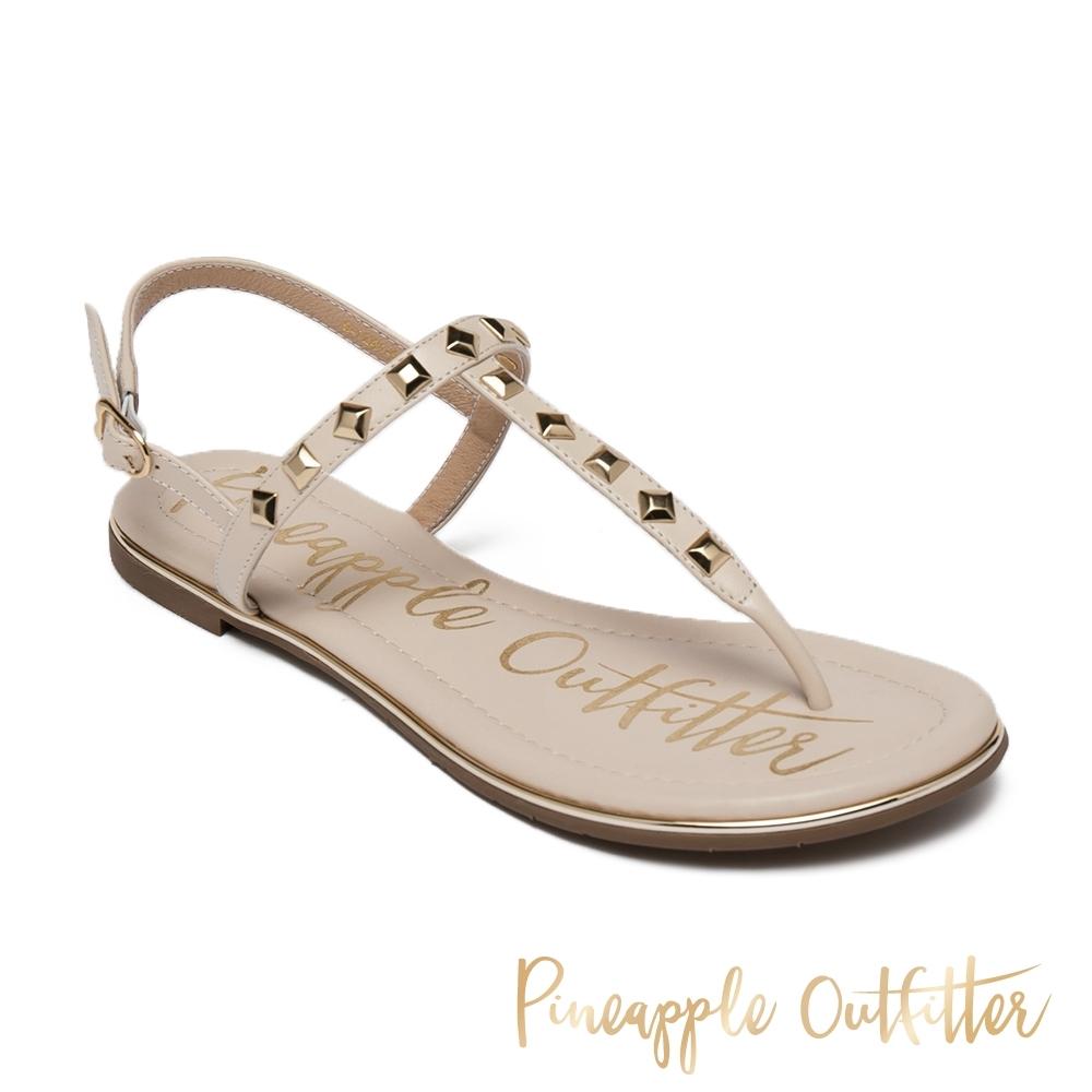 Pineapple Outfitter-SESIA 真皮性感鉚釘一字涼拖鞋-米杏色