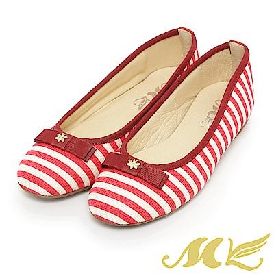 MK-水手風甜美時尚微玻跟平底鞋-紅色