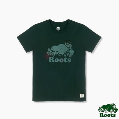 Roots 女裝- 環保有機棉系列 海狸LOGO短袖T恤-綠色