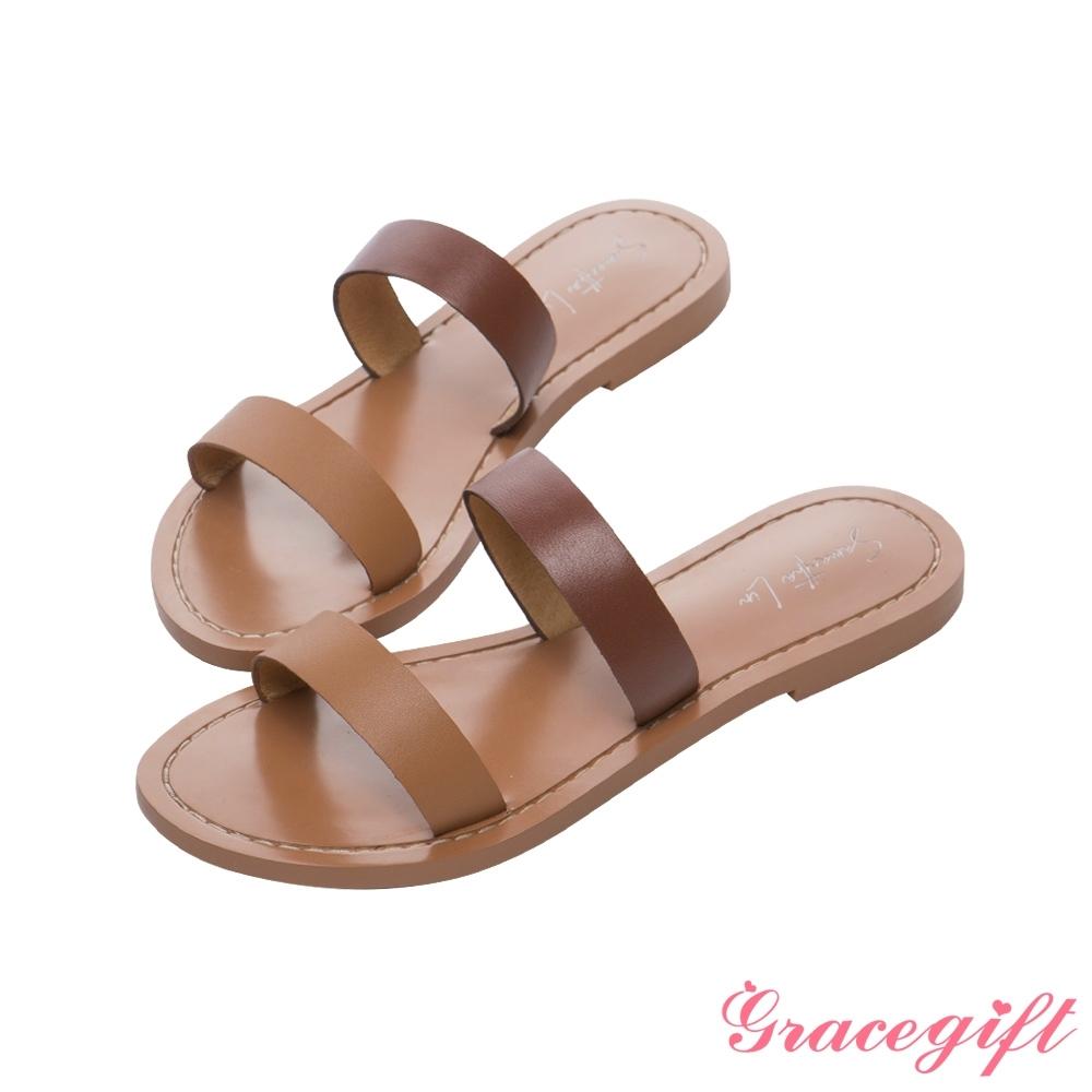 Grace gift X Samantha-聯名雙條帶平底涼拖鞋 棕