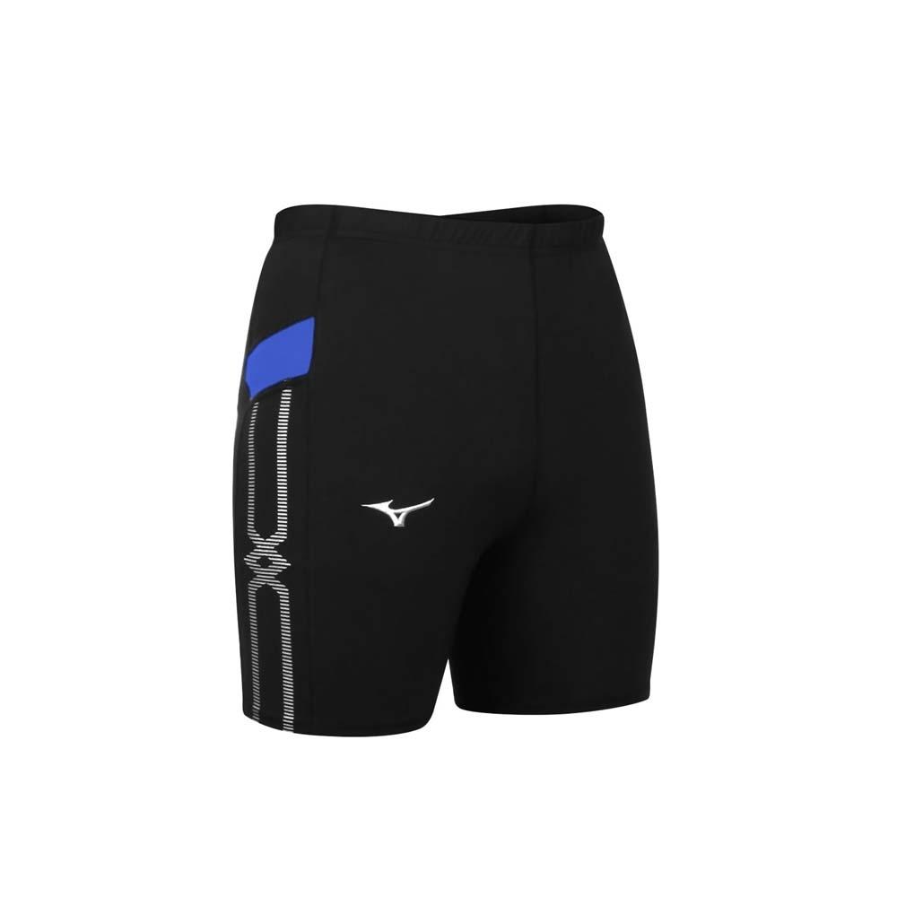 MIZUNO 男緊身短褲-台灣製 三分褲 慢跑 路跑 束褲 美津濃 U2TB1G0309 黑藍白
