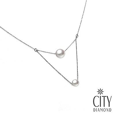 City Diamond引雅【手作設計系列 】天然珍珠雙層項鍊/鎖骨鍊/頸鍊