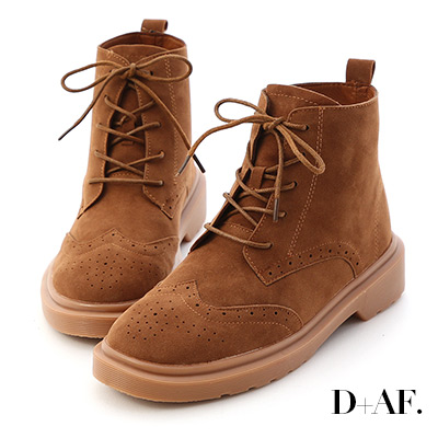 D+AF 英倫復古.雕花絨料綁帶牛津短靴*咖