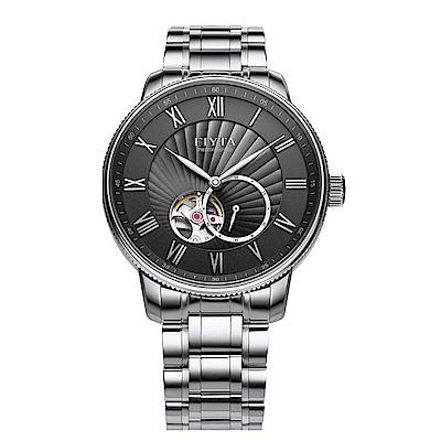 FIYTA飛亞達 攝影系列時尚鏤空機械錶-黑錶盤/鍊帶-GA860015.WHW-42mm