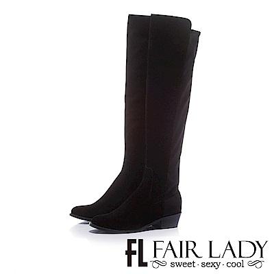 Fair-Lady-性感雙材質拼接拉鍊粗低跟過膝靴