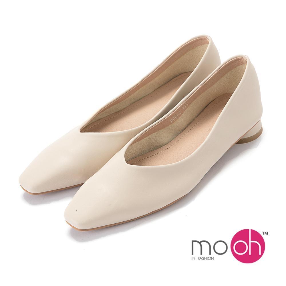 mo.oh-知性素面尖頭超軟平底鞋-奶油白