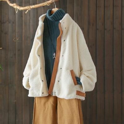毛茸茸的白色仿水貂絨立領外套寬鬆加厚保暖上衣-設計所在
